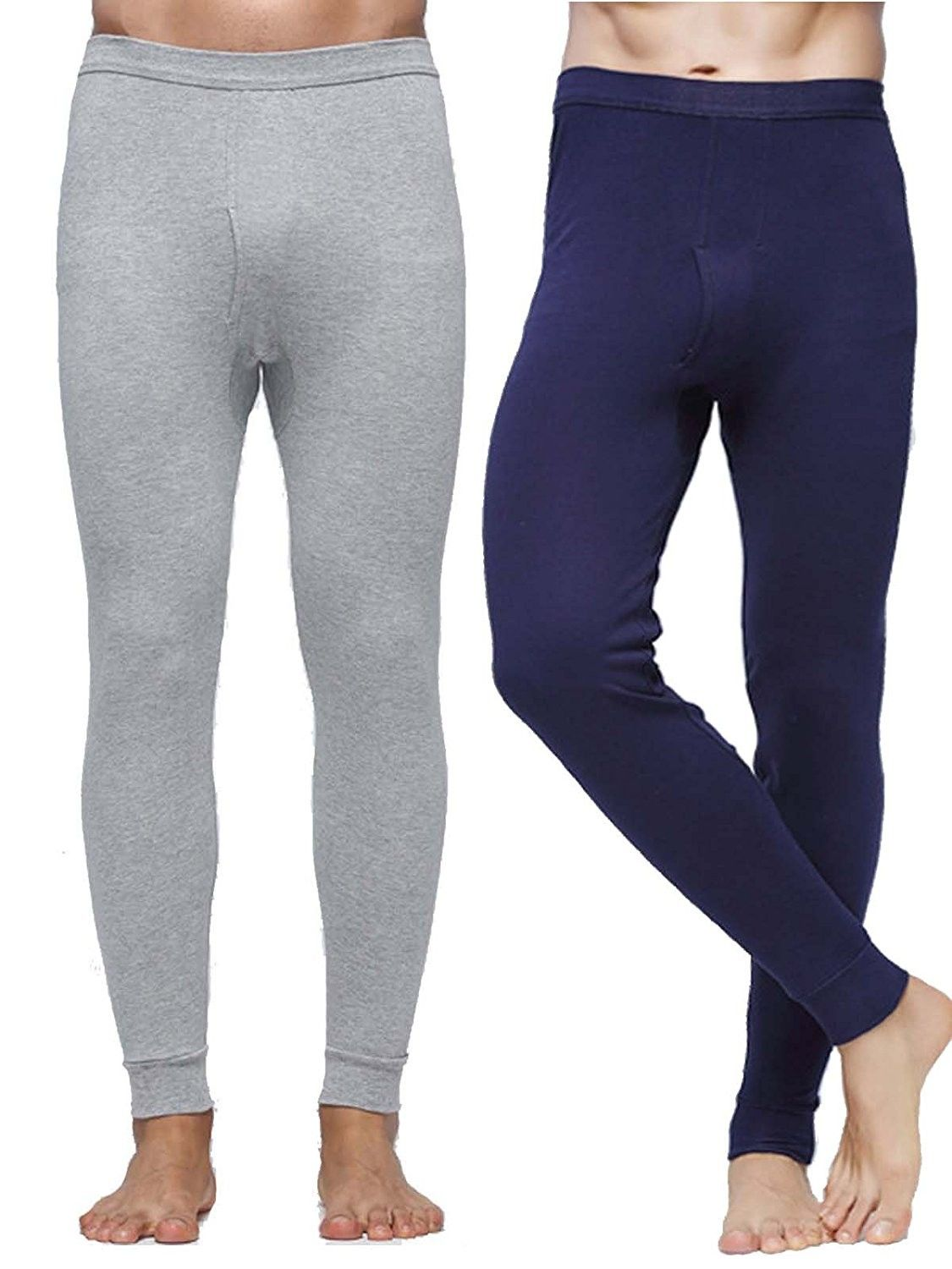 7af53410d591 Men's Clothing, Underwear, Thermal Underwear,Men's Mid Weight Essential  Thermal Pants Cotton Long Johns Bottoms Warm Leggings - Navy+light Grey ...