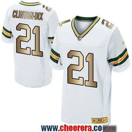Men s Green Bay Packers  21 Ha Ha Clinton-Dix White With Gold Stitched NFL  Nike Elite Jersey 31c5ca24a