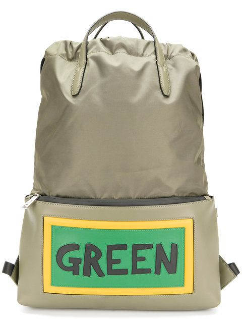 fbfb20d418be Fendi Green Slogan Drawstring Backpack - Farfetch