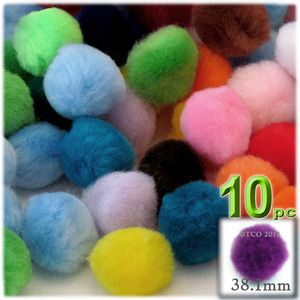 Acrylic Pom Poms, solid Color, 1.5-inch (38mm), 10-pc, Multi Mix