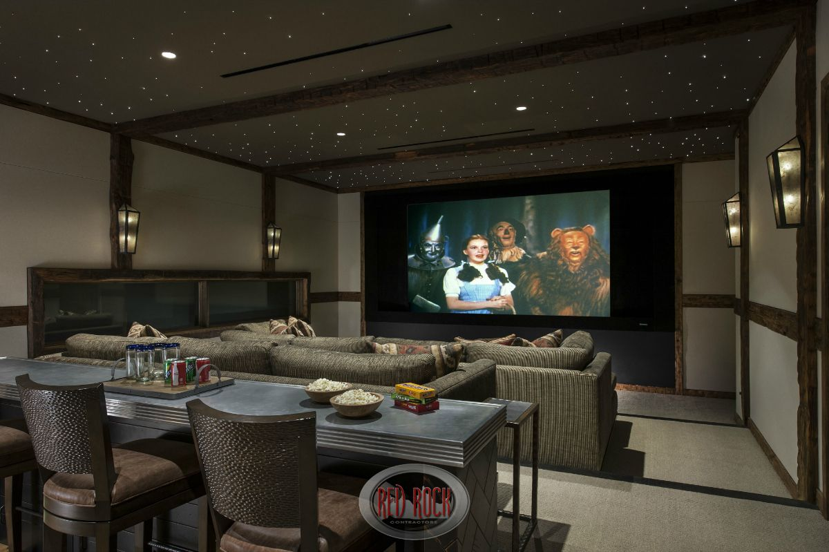 100 awesome home theater and media room ideas for 2018 for Bar counter designs small space