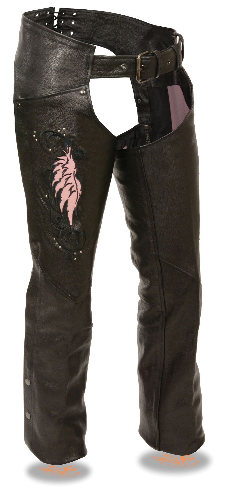 Premium Cowhide Leather 1.1-1.2mm Thick Embroidered Wing & Stud Design on Thigh Dual Side Hip Pockets Back Lacing Adjustment For Perfect Fit