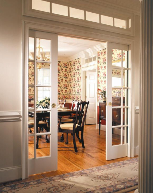 Sliding French Pocket Doors 1 - double door paned glass pocket doors with window on top http