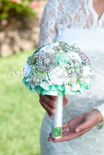 Two Knots lavender silver mint wedding flower bouquet - Ruby Blooms