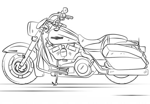 Раскраска Harley Davidson Road King | Santa - biker | Pinterest