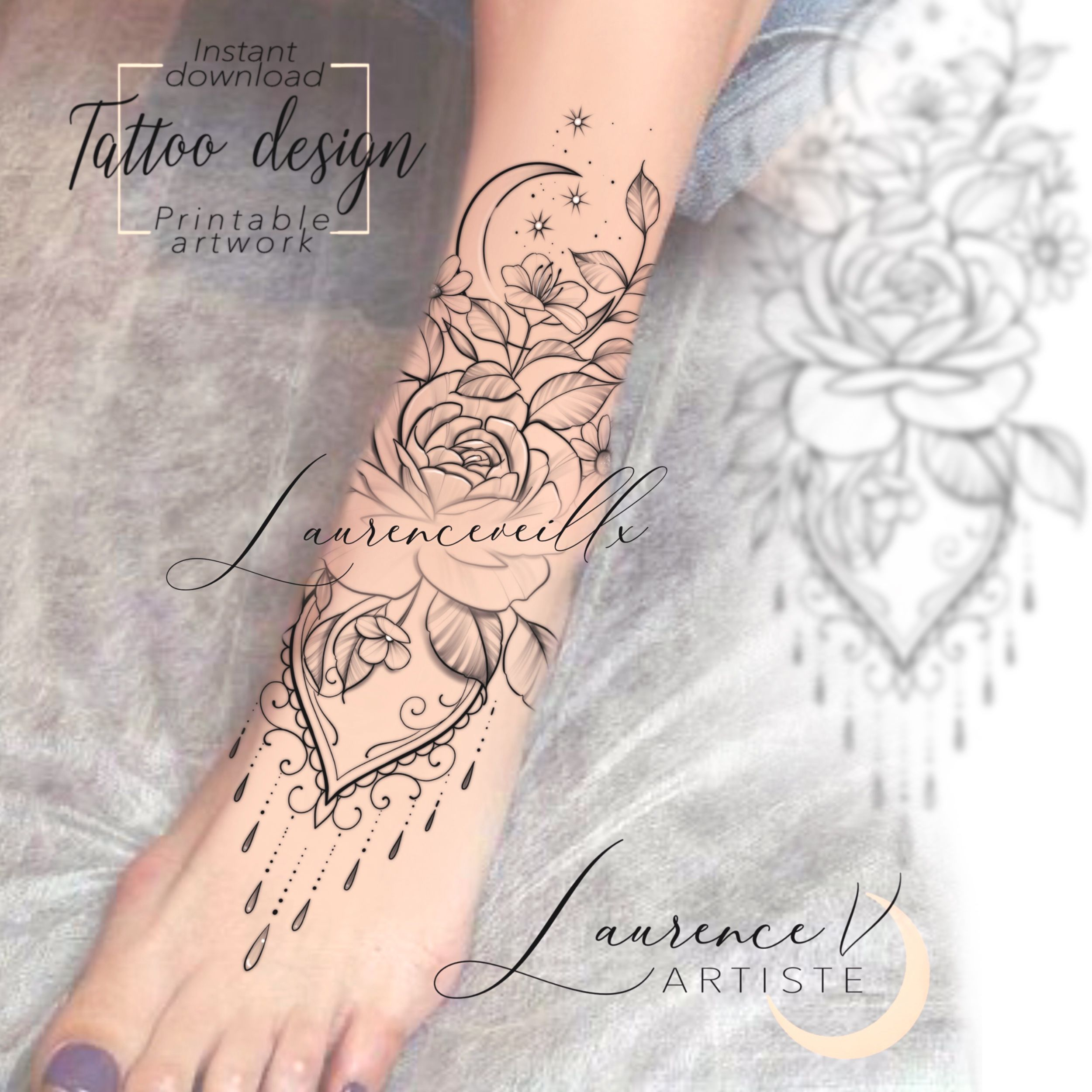 Moon Flowers Ornemental Tattoo Sketch Available On Etsy Laurenceveillx Tattoo Designs Tattoos Tattoo Sketches