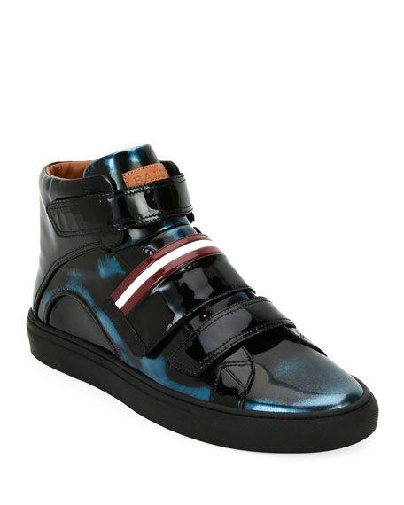 BALLY Herrick Metallic Patent Leather High-Top Sneaker, Blue. #bally #shoes