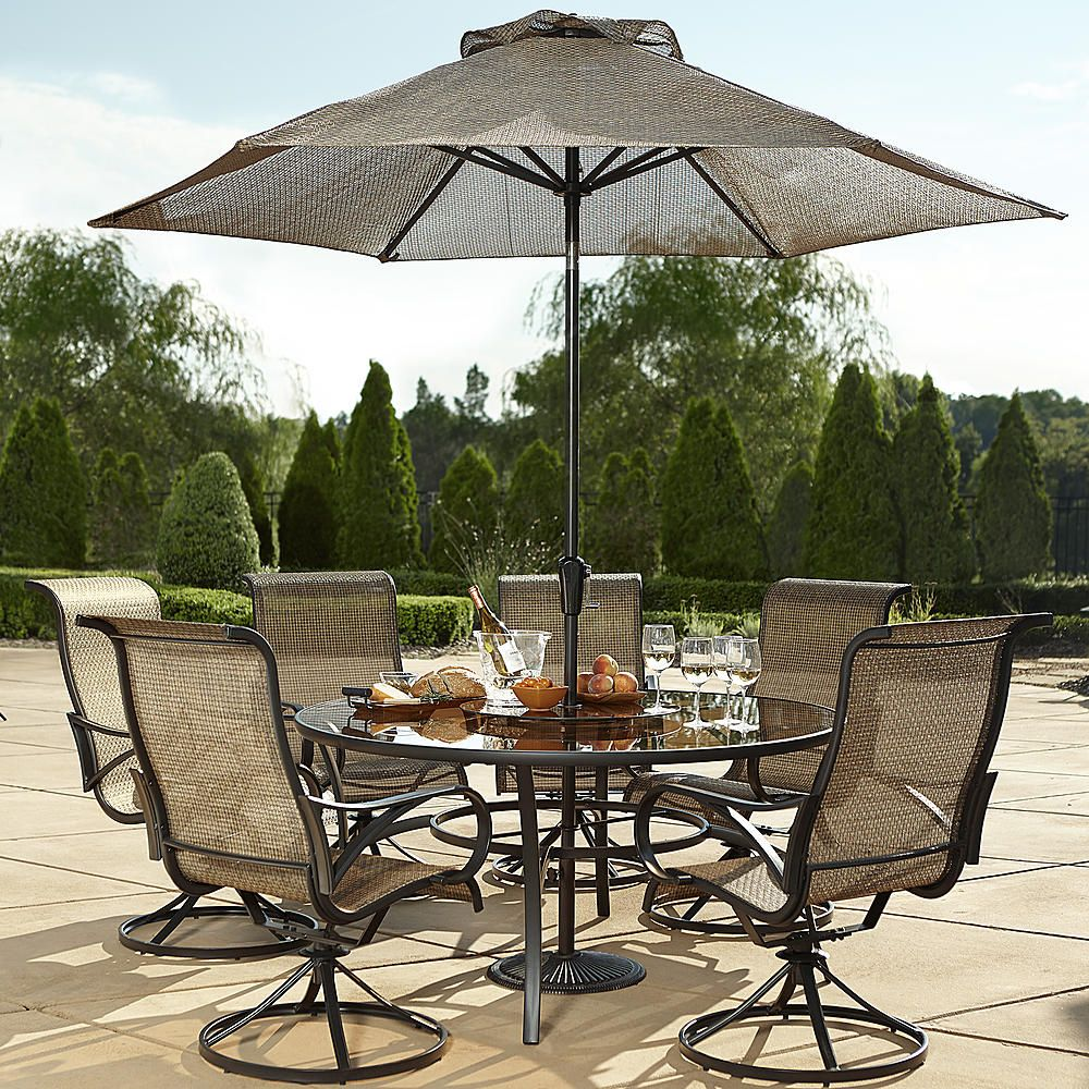 Grand Resort Oak Hill 60 Inch Round 7pcs Sling Dining Set Outdoor Living Patio Furniture Sets