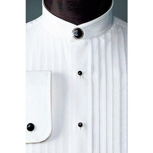 "mandarin collar Tuxedo Shirt with 1//2/"" pleat NEW Men's banded collar"