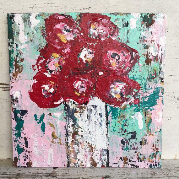 Flower painting 12 x 12 original painting by sunshinegirldesigns