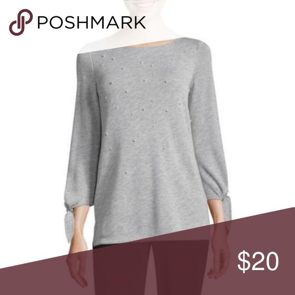 Liz Claiborne 3 4 Tie Sleeve Sweatshirt Sleeve Length  3 4 Sleeve Collar   No Collar Fabric Description  ruffle sweatshirt Fabric Content  65%  Polyester 02e5df567