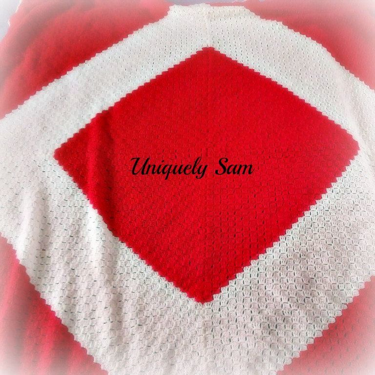 Crochet blanket, red and cream large double bed throw by UniquelySam on Etsy