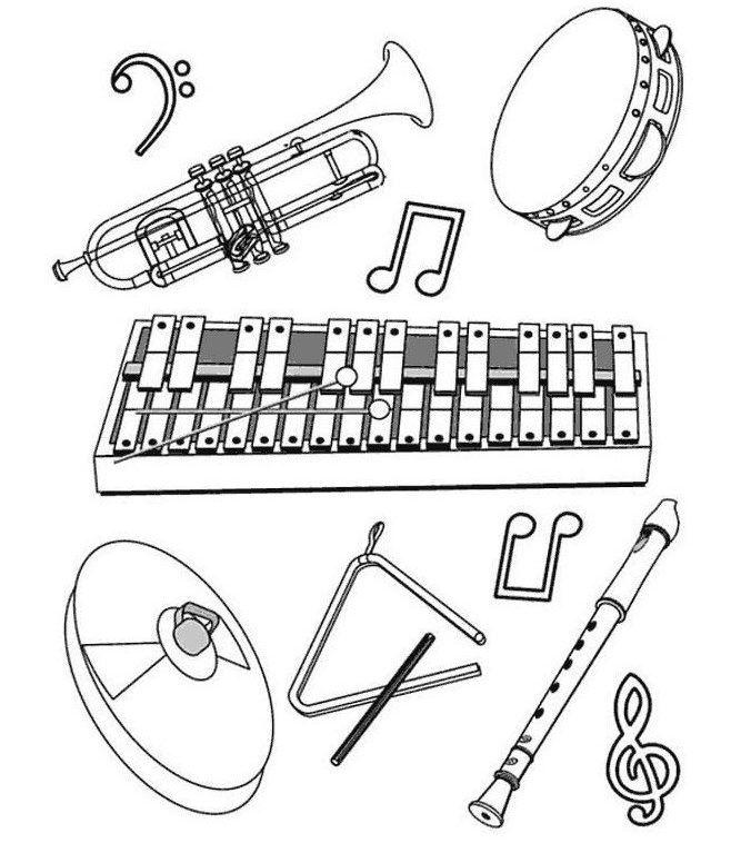 ausmalbilder instrumente  musik und bewegung musikspiele