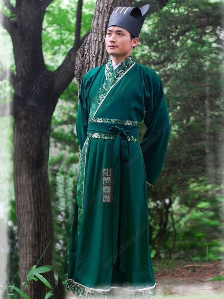 Men's Green Straight hem robe Ming Dynasty Hanfu Clothing - USD $ 239.00