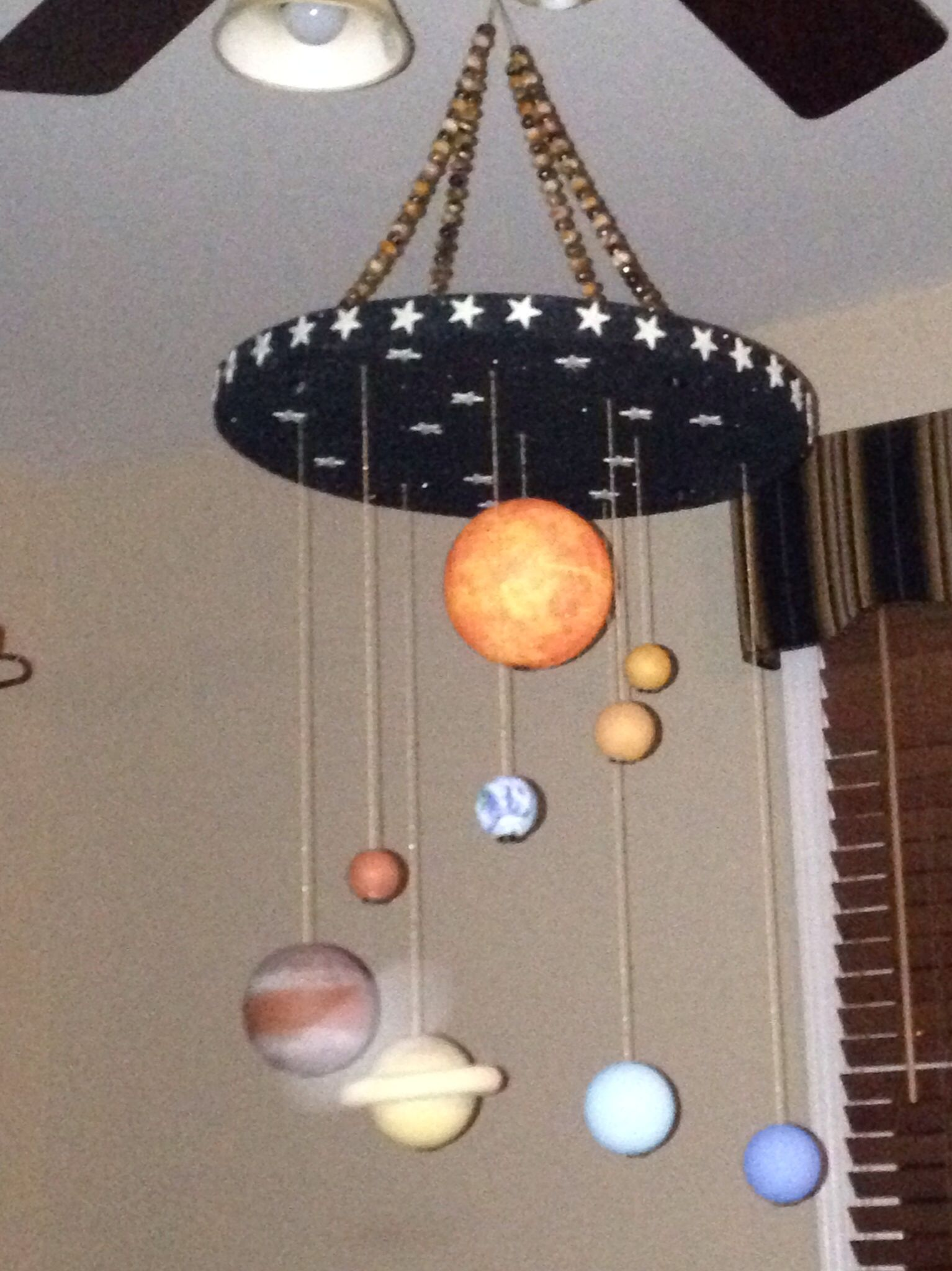 102b00b178 Solar System Mobile made out of smooth styrofoam balls.