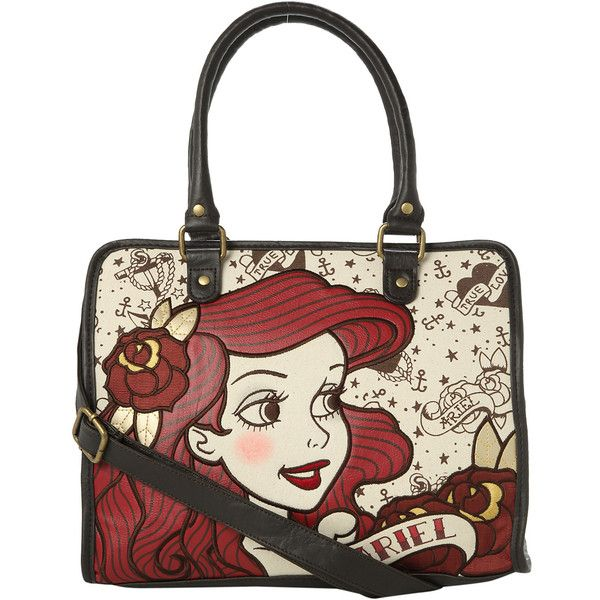 Disney The Little Mermaid Tattoo Ariel Bag Hot Topic (£29) ❤ liked on Polyvore featuring bags, handbags, disney bag, white purse, embroidered handbags, pouch bag and embroidered purse