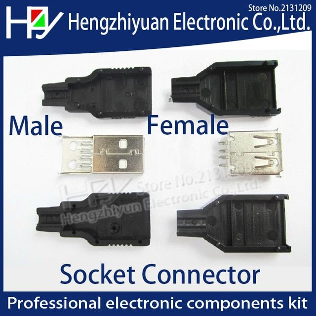 USB 2.0 Type A 4 Pin Female Jack Socket Adapter Connector /& Black Plastic Cover