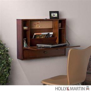 Modern Wall Mounted Laptop Desk in Mahogany – OfficeDesk.com