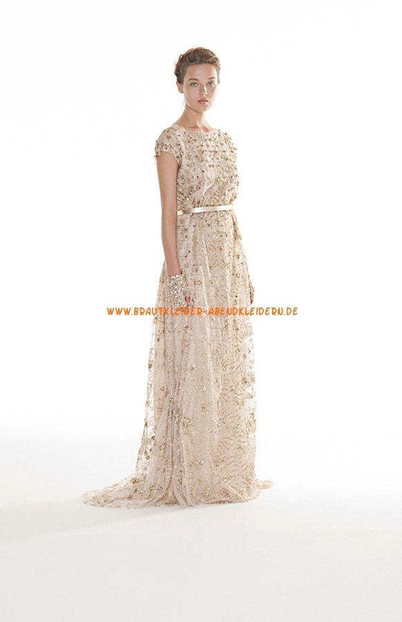 Rückenfrei Luxuriöse Brautkleider 2014 aus Softnetz mit Perlenstickerei