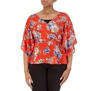 d0090aad7 Junior Plus Floral Print Wrap Blouse with Loose Sleeves | WOMAN'S ...