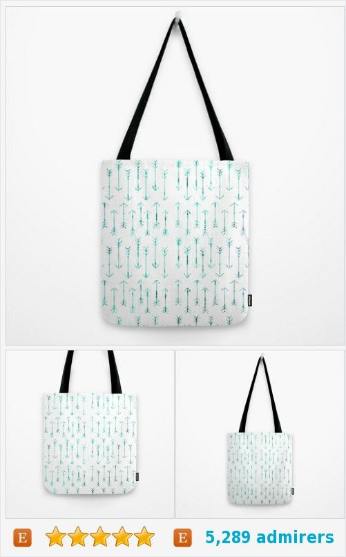 20b198037 Arrow Tote Bag - Teal Hand Drawn Arrows - Book Bag - Grocery Bag - 3 Sizes  - Made to Order