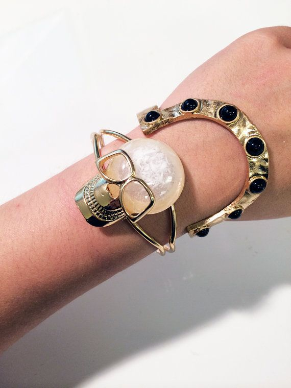Gold plate bangle with bold skull charm and glossy by JEWELETTO
