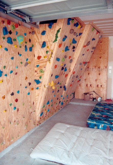 The Hahn S Homebuilt Climbing Wall In Our Garage Diy Climbing Wall Indoor Climbing Wall Home Climbing Wall