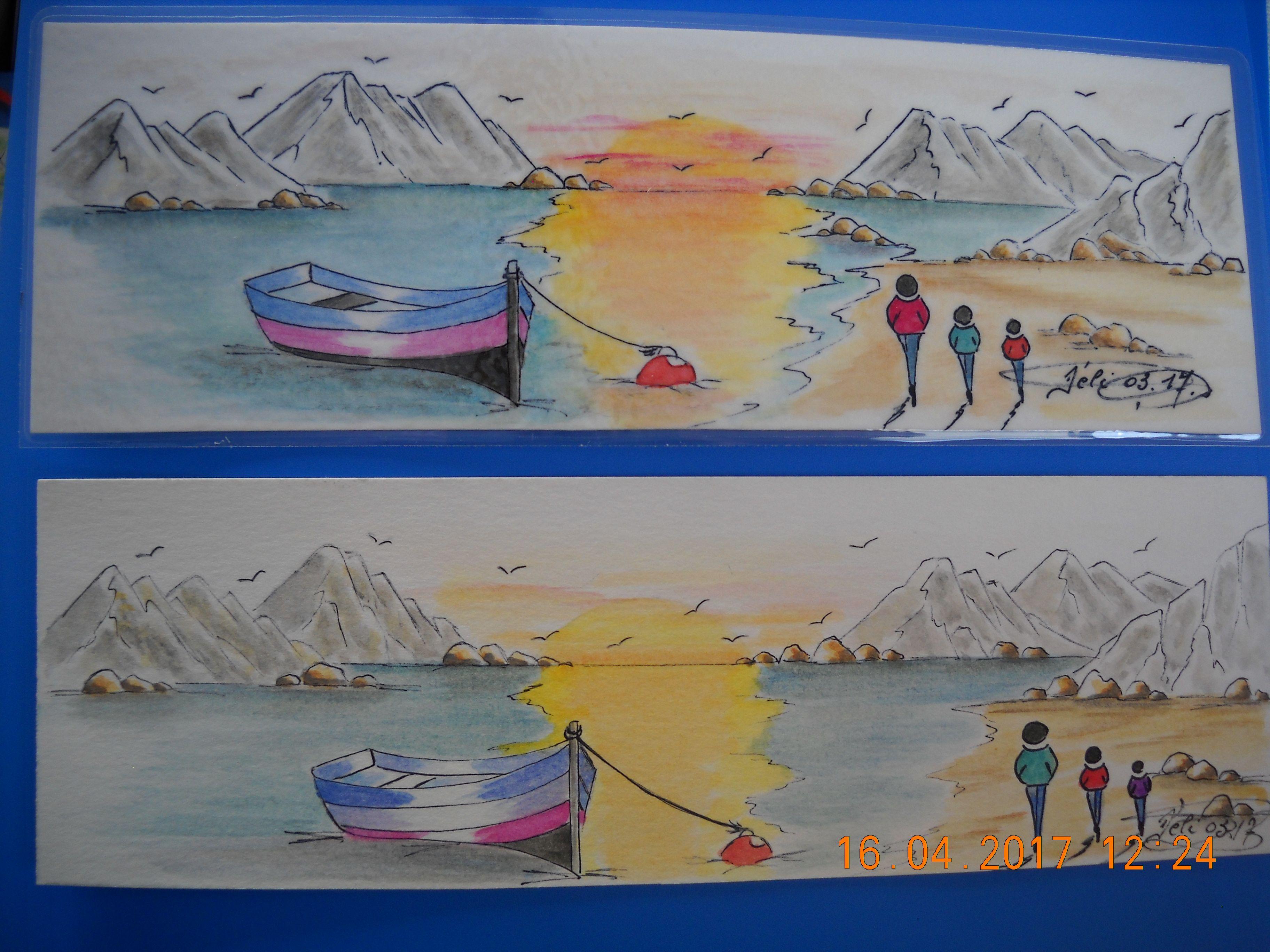 Marque page à l'aquarelle - Création Eliane