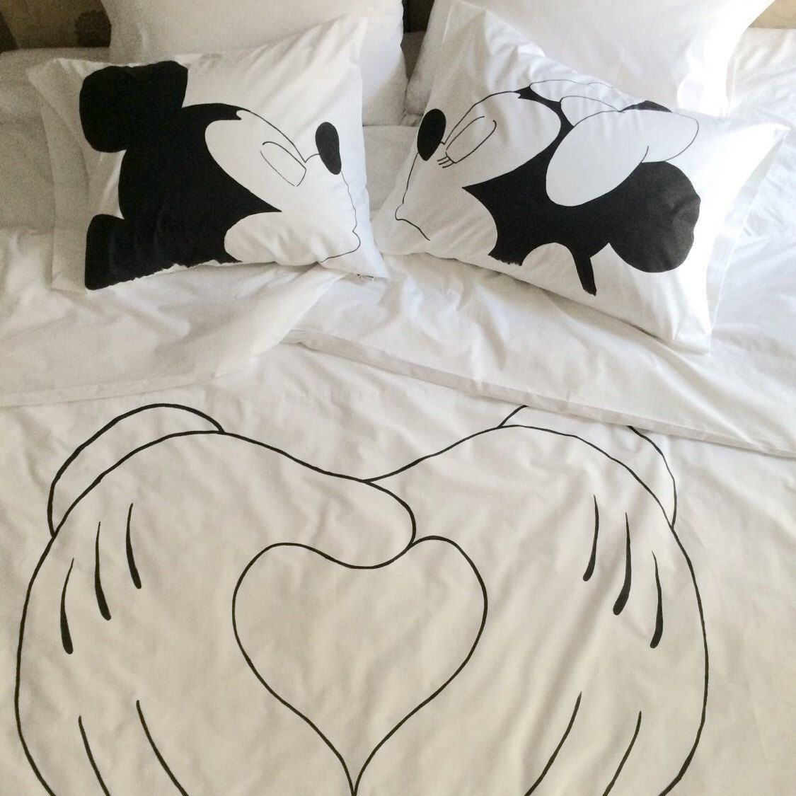 Hand Painted Disney Bedding Set, His and hers gifts, Duvet
