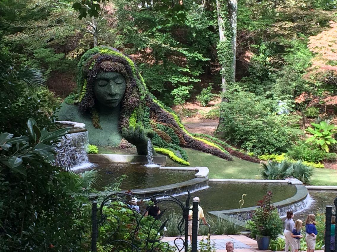 The goddess garden seen from the walkway above