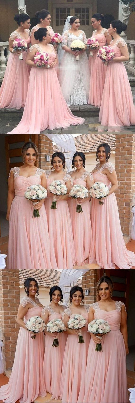 Outlet easy long bridesmaid dresses elegant aline pink long chiffon