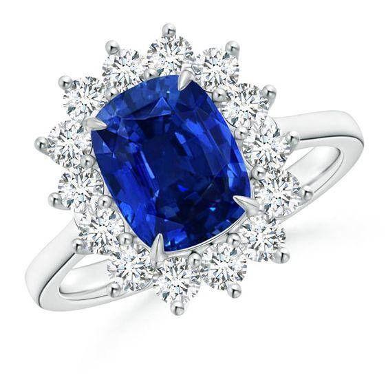 Angara Floral Diamond Halo Cushion Natural Sapphire Claw Ring FBr5ygX