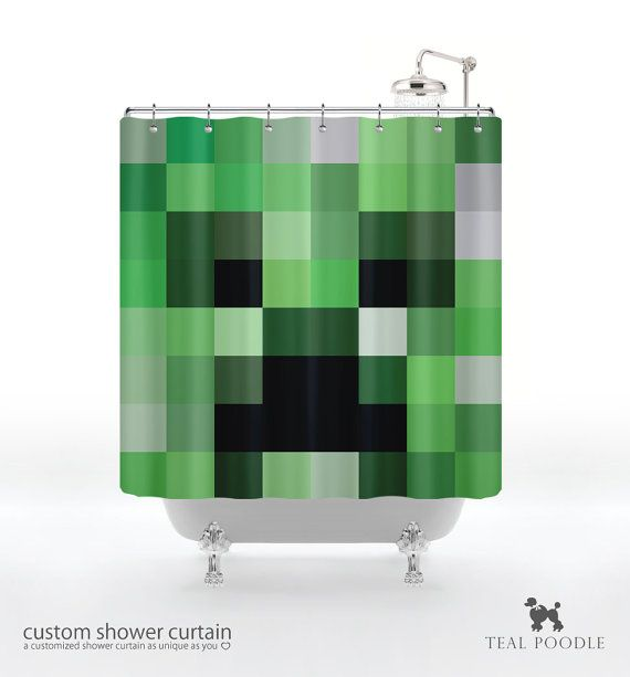 Captivating Creeper Shower Curtain   Geekster Video Game Creepers Minecraft Inspired On  Etsy, $74.00