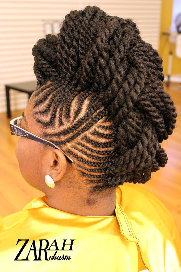 hair cornrows styles cornrow mohawk pinned up by stylist zarah charm 7015 | cfbc326ad15df51b55c98a726dcecd49