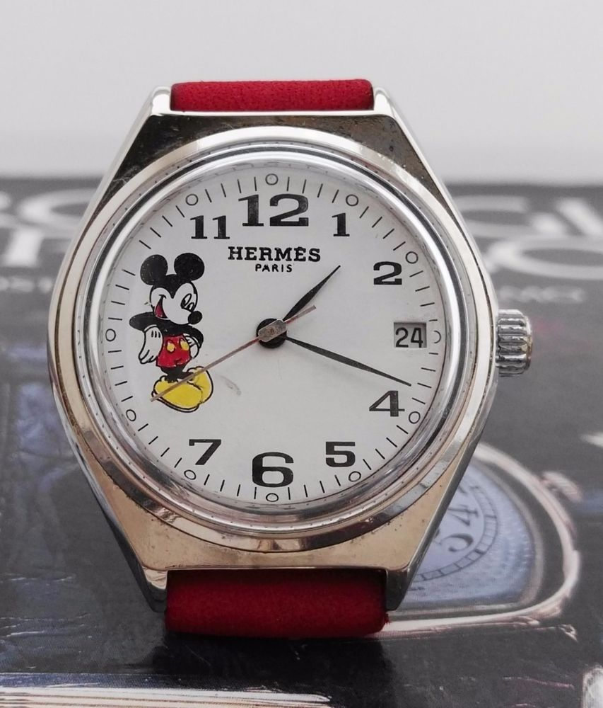 HERMES PARIS MICKEY MOUSE WHITE DIAL WHIT CALENDAR SILVER PLATED CASE FROM  1945   Jewelry   Watches, Watches, Parts   Accessories, Wristwatches   eBay! e898f9e430
