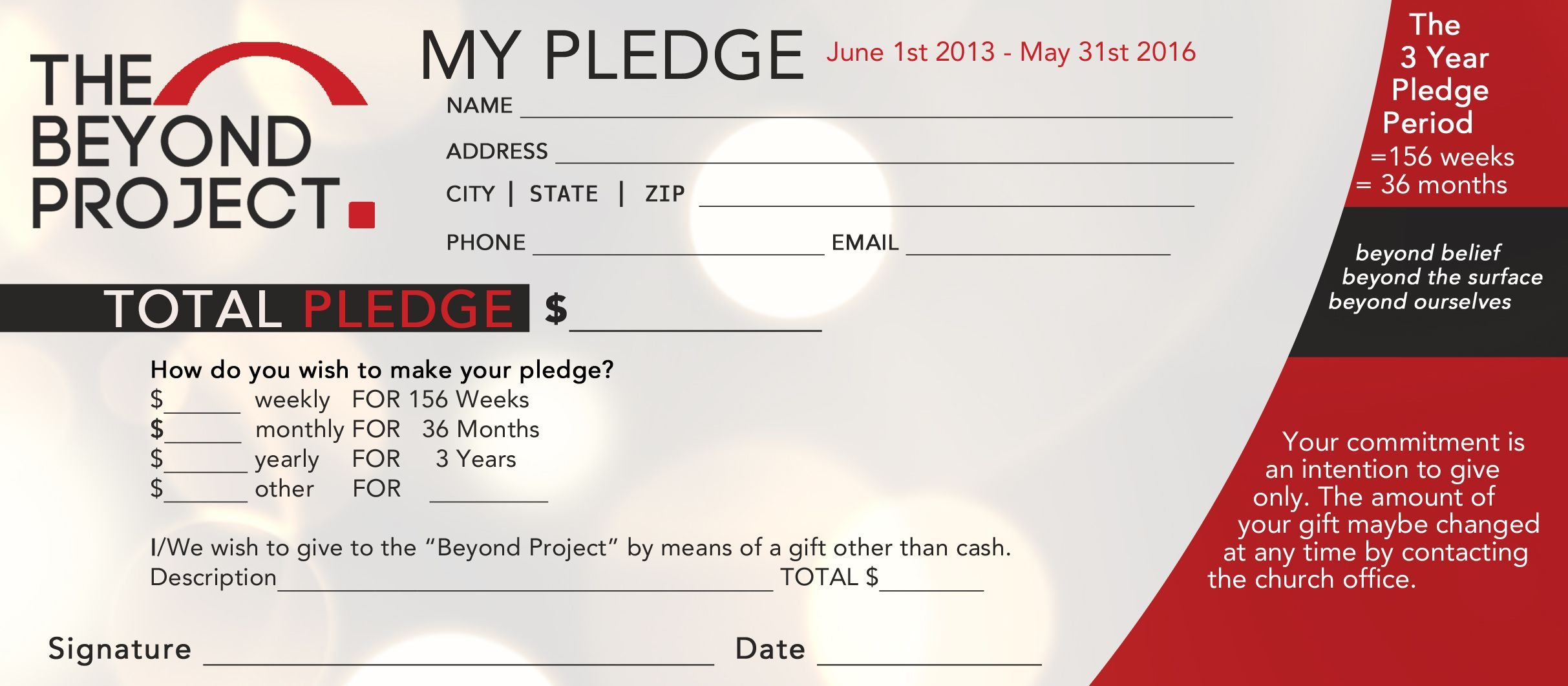 Church Pledge Form Template Hausn3uc Capital Campaign Within Fundraising Pledge Card Template Cumed Org Capital Campaign Card Template Pledge