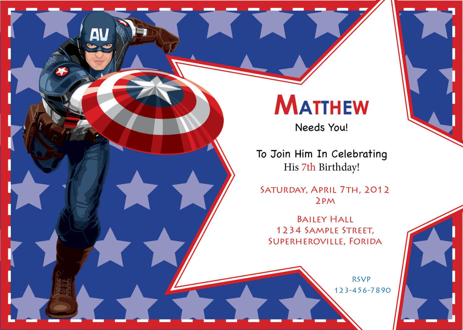 Captain America Free Printable Invitations, Cards or Images ...
