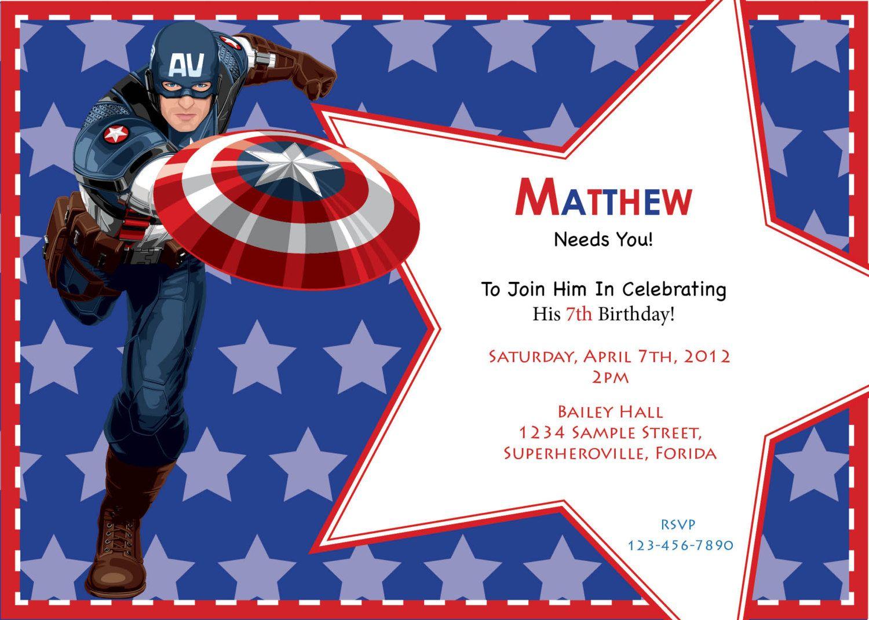 Captain America Birthday Invitation Custom Digital Print File