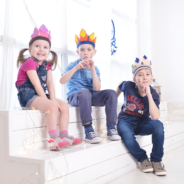 Indian headdress felt feather headband kids feathered birthday