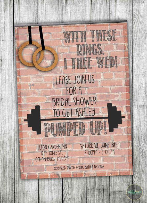 Calling All Crossfit Lovers This Invitation Is For You See More Fitness Inspired Bridal Shower Invit Crossfit Wedding Bridal Shower Bridal Shower Invitations
