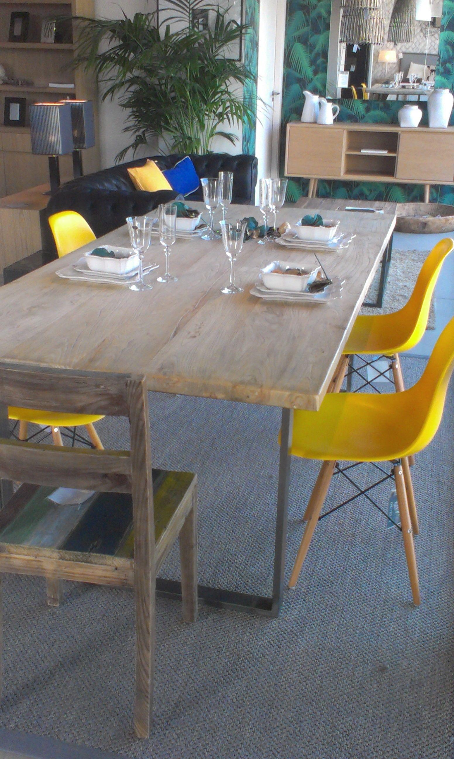 El Globo. Mesa de comedor de madera reciclado, pie forja. Precio ...