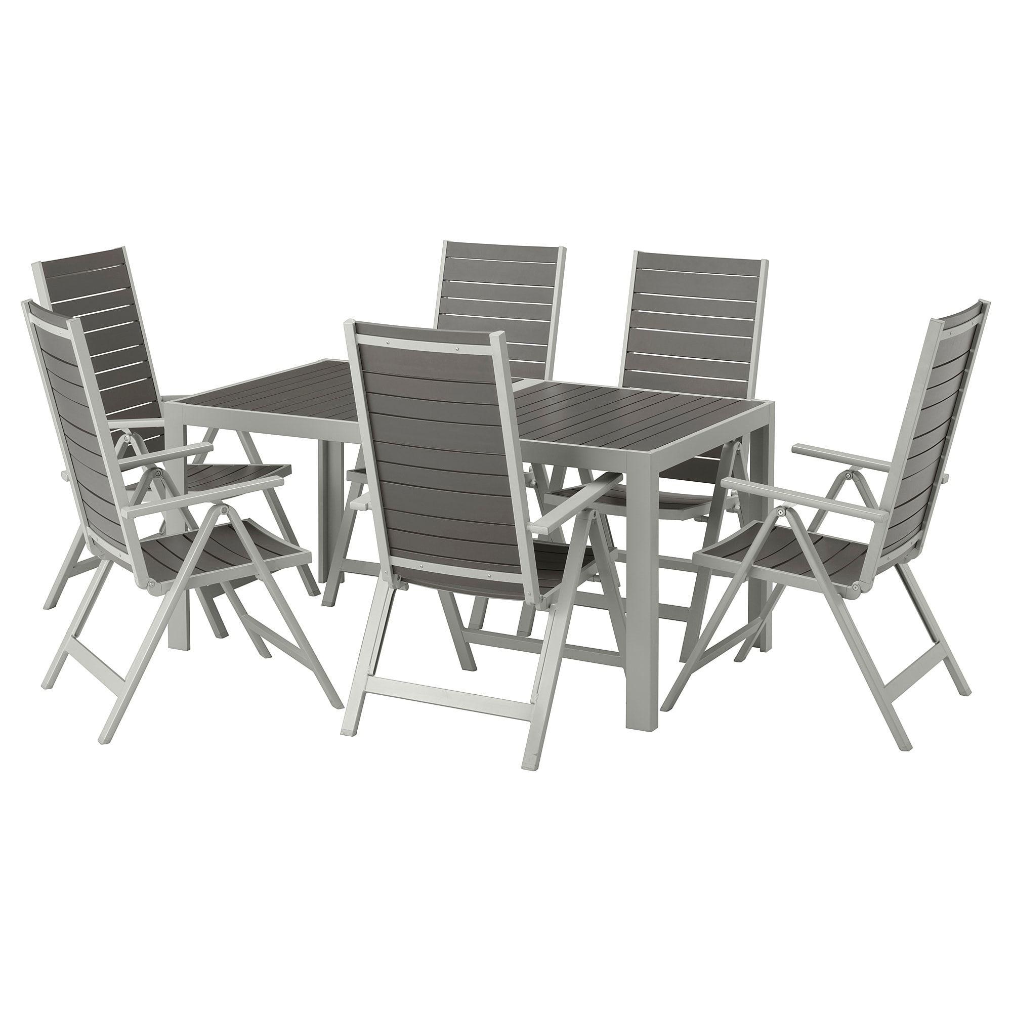 Sjalland Tisch 6 Hochlehner Aussen Dunkelgrau Hellgrau Ikea