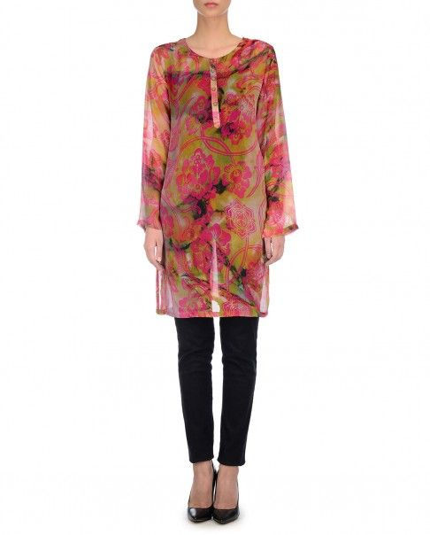 Multicolored Tunic Pink Floral Prints - Kavita Bhartia