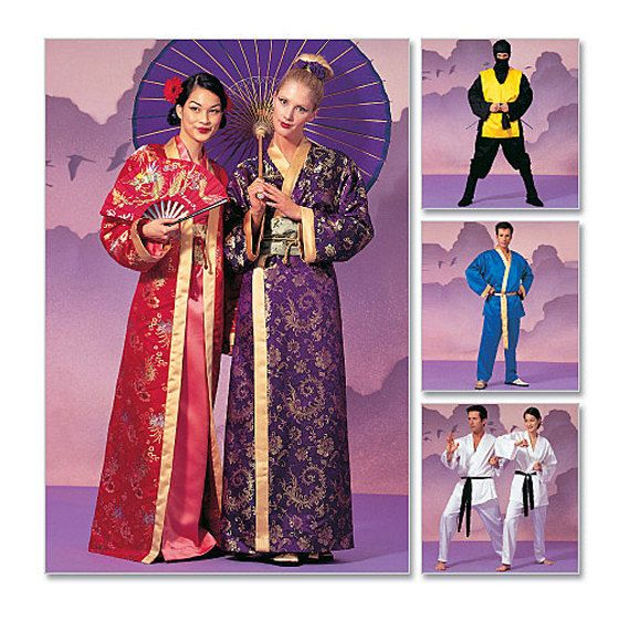 GEISHA NINJA KARATE Kimono Robe Patterns Easy Sew Costume Patterns ...