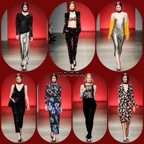 TOCCA RTW FW14  Stylist Picks:  The toccanyc collection is laden with lady-like sex appeal. Liquid silver slips with boyfriend sweaters shared the runway with velvet suits, rompers and dresses that were perfectly cut. The bold flower prints were stand-outs as well.  Source: oncewheniwas