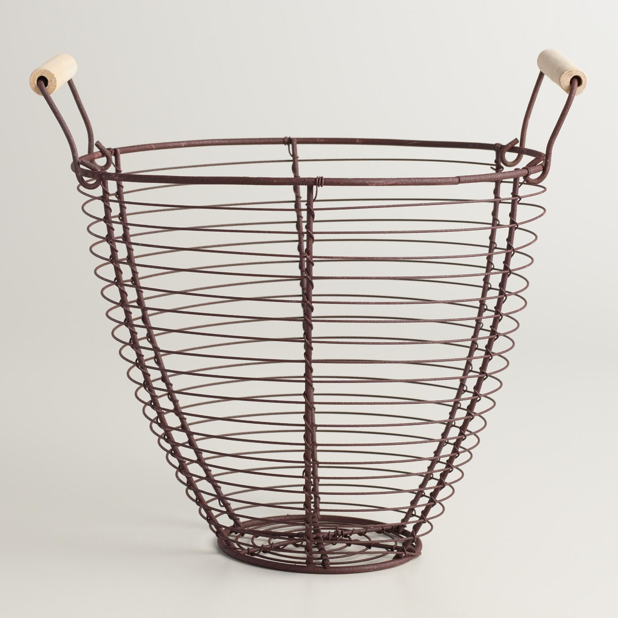 Round Rustic Wire Basket | Wire basket, Woods and Room