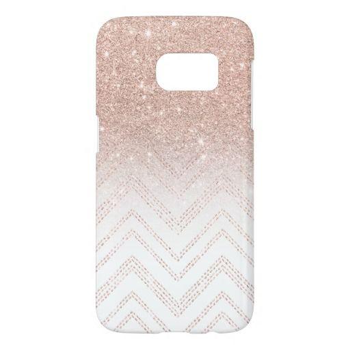 Modern Faux Rose Gold Glitter Ombre Modern Chevron Case Mate Samsung Galaxy Case Samsung Galaxy S7 Cases Rose Gold Glitter Galaxy S7 Cases