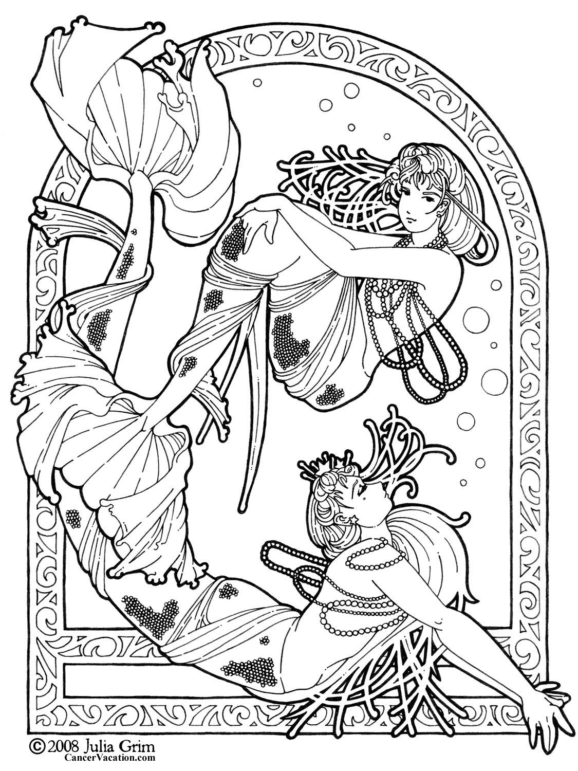 mermaids adult colouring page by julia grim - Fantasy Coloring Books For Adults