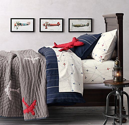 Vintage Baseball Stripe Amp Airplane Route Bedding