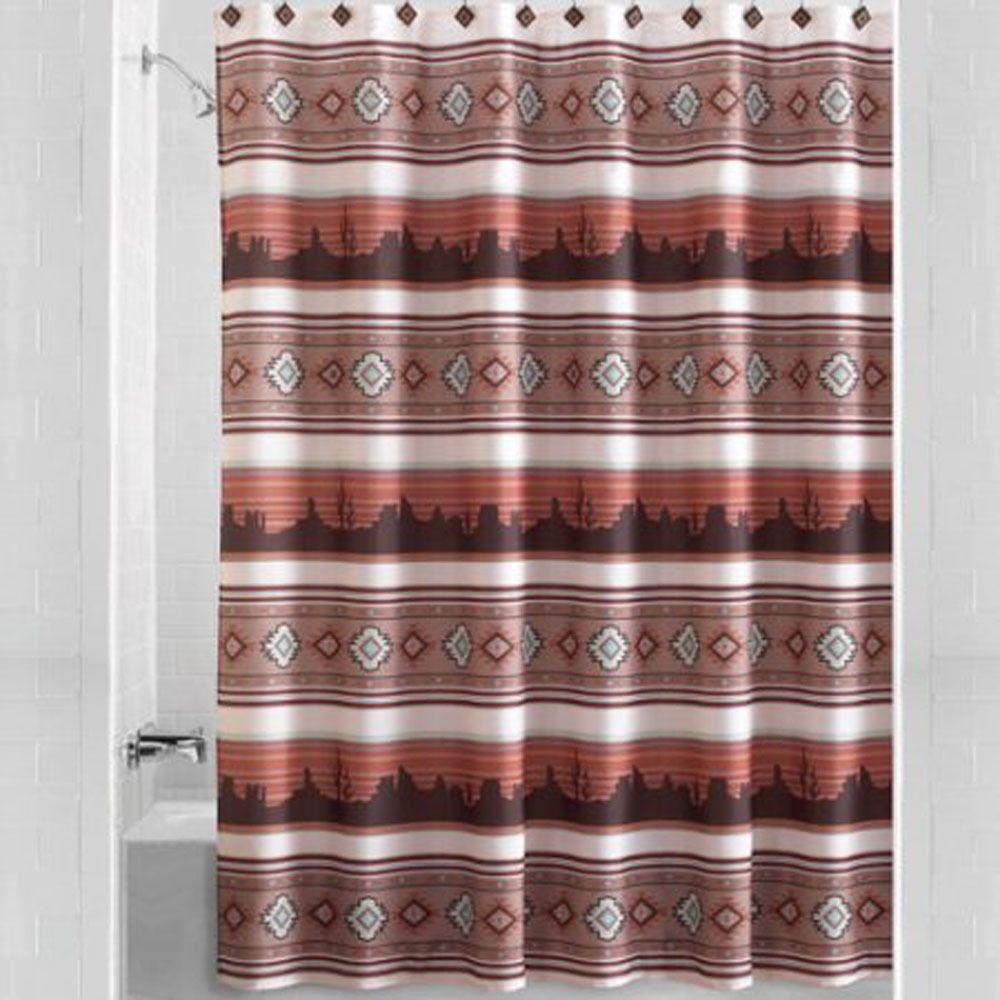 Southwest Aztec Sunset Fabric Shower Curtain Southwestern Kokopelli Bath Decor With Images Fabric Shower Curtains Curtains